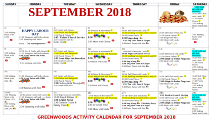 Greenwoods Calendar of Activities for September 2018