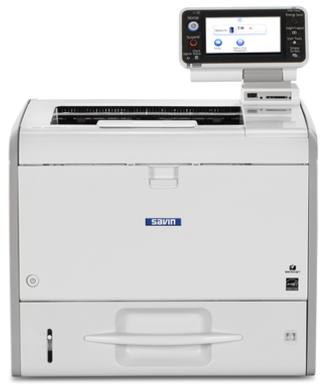 "Ricoh/Savin SP 4520DN 8.5"" x 14"" capable black and white printer, affordable, fast, business-class, consistent, 42 page per minute print speeds, 4.3 inch tiltable color touch panel, USB/SD card printing, 1200 by 1200 dpi print resolution, mobile printing, smartphone and tablet printing, low price, budget friendly, small office, small workgroup device sold by Cedar Rapids Photo Copy, Inc. (CRPC, Inc.) in local Cedar Rapids, Iowa. Eastern Iowa/Corridor area's leader in office printing technology and general office technology since 1965."