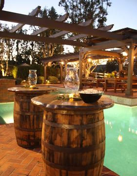 Barrel Cocktail Tables from rustic parties Orange County Southern California