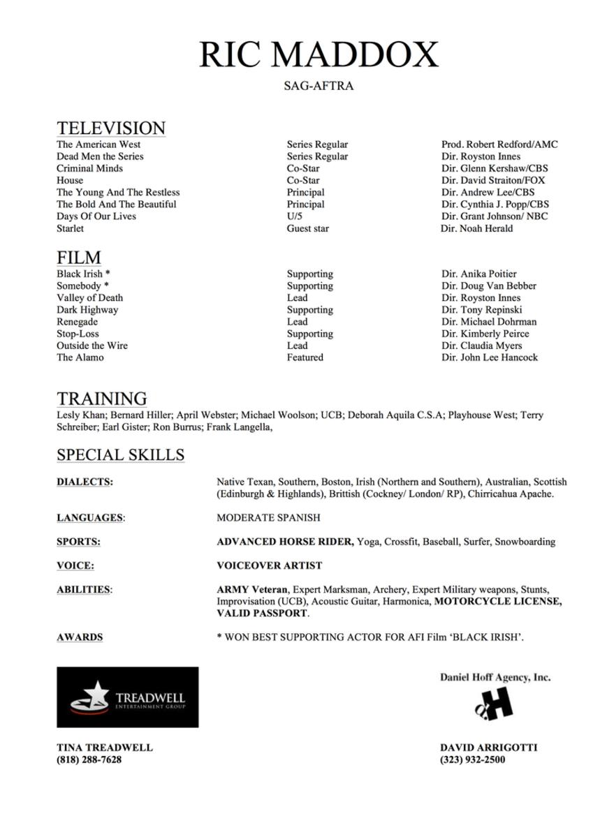 resume film and television resume