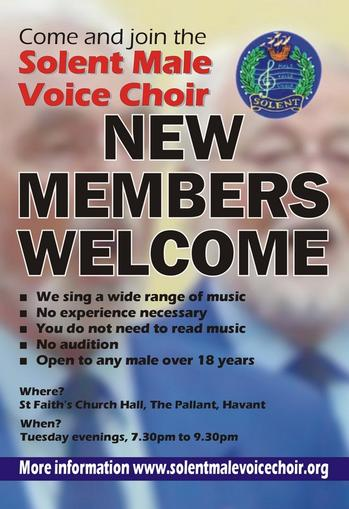 CLICK to download our New Members Welcome Poster for the Solent Male Voice Choir, Hampshire, UK