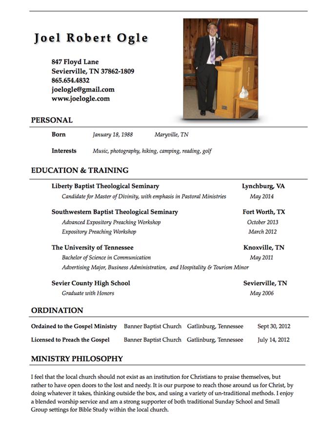 Resume – Pastor Resume