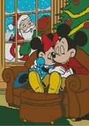 Mickey and Minnie Mouse aasleep with Santa at the Window