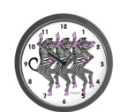 buy a zebra chorus line clock at annhansonart shop at cafepress