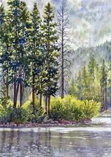 Original Watercolor - Early Morning Grand Lake by Lorraine Watry