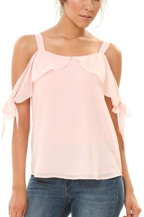 Light Peach Tie Sleeve Blouse