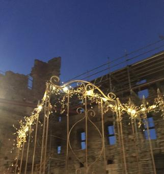 Trellis with Fairy Lights for Wedding at Mill City Museum