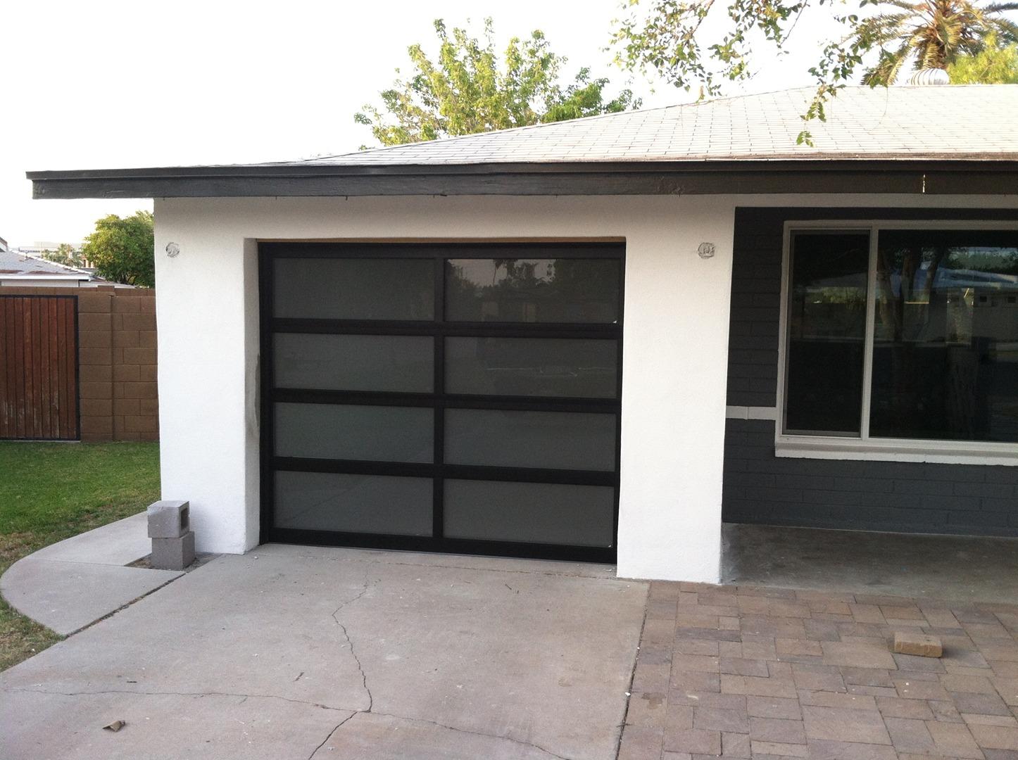Modern garage door glass - Samples Of Our Glass Garage Doors