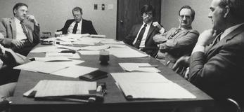 Jim Hasse at an executive staff meeting for Wisconsin Dairies in 1987.