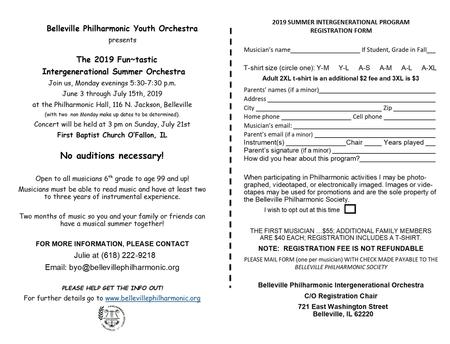 Summer orchestra registration