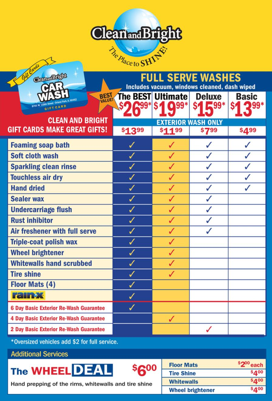 Car wash pricing clean and bright car wash orlando park il oversize vans and suvs 2 extra solutioingenieria Choice Image