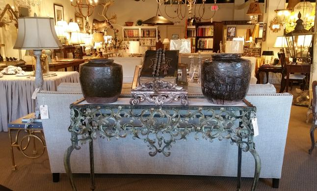 Bespoke iron hummingbird console table new vintage antique chinese jars fired italian book stand lecturn antique roman catholic rosary worry beads authentic vintage antique C. R. Laine sofa bespoke custom