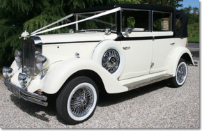 Regent Vintage style landaulette wedding car in black and ivory - Essex Wedding Cars