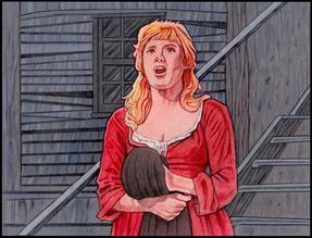 "Shani Wallis as Nancy singing ""As Long As He Needs Me"" in Carol Reed's OLIVER! (color pencil on paper by CLIFF CARSON)"