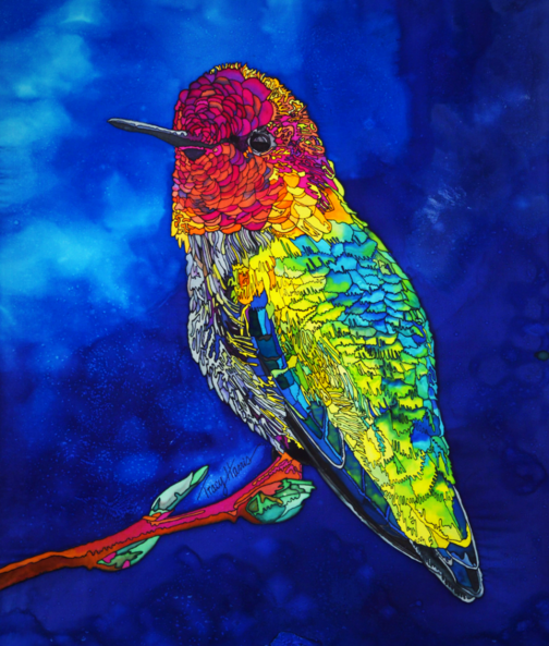 Tracy Harris silk Painting, Hummingbird, Original Silk Painting