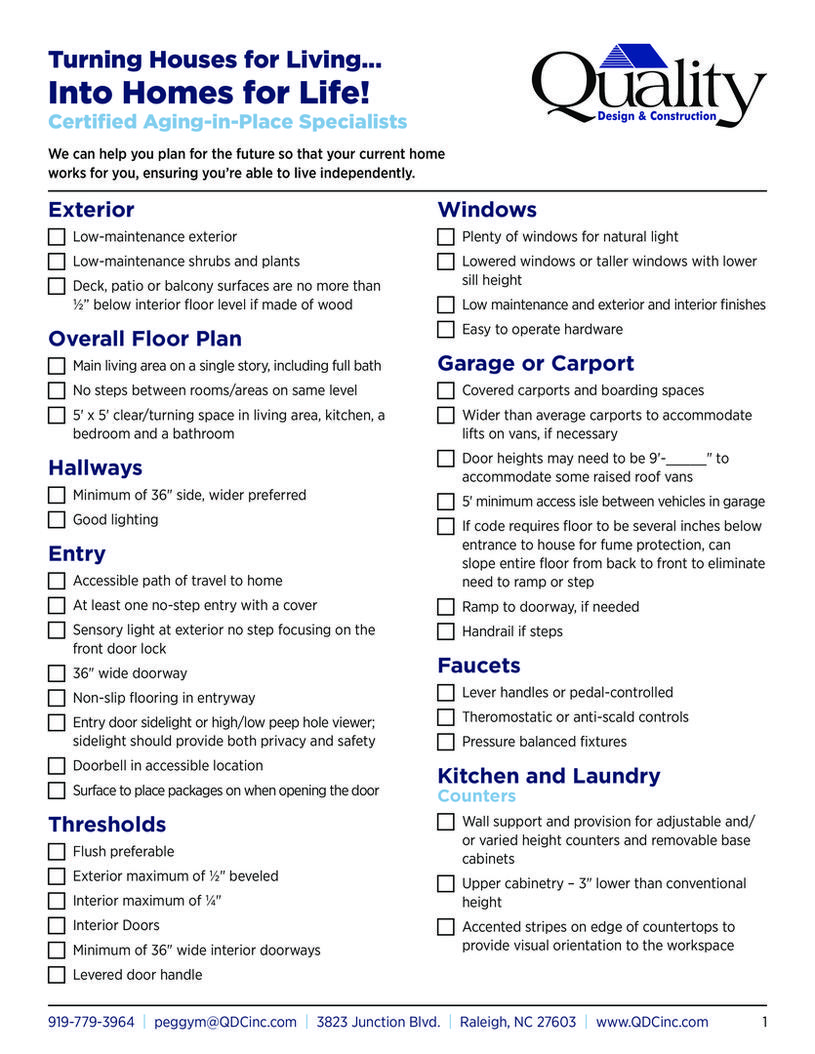 turning houses for living into homes for life aging in place checklist