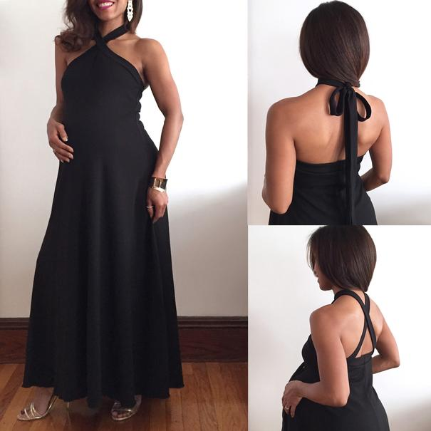 Black Halter Maternity Dress with Ties LaDi with a BaBy