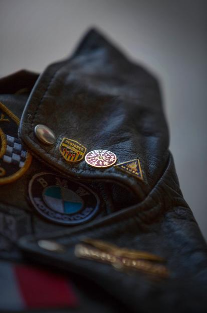 designer leather jacket and badges