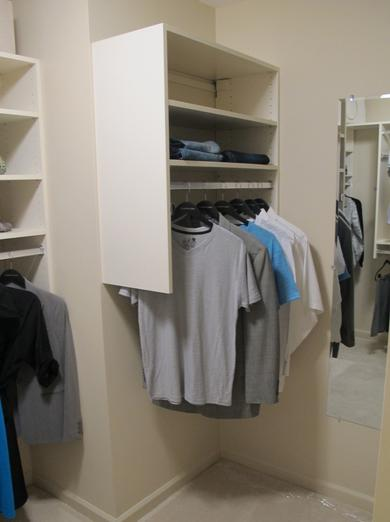 Shelves and hanging space in Owner's closet