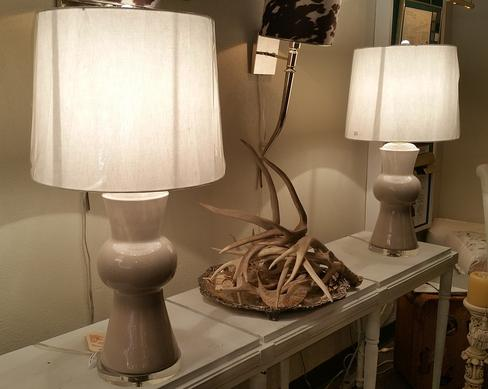 pair of porcelin hand made table lamps new bespoke custom colors available with shades