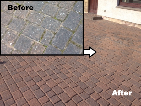 before and after cleaning picture of monoblock driveway