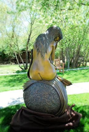 Life size female form bronze sculpture