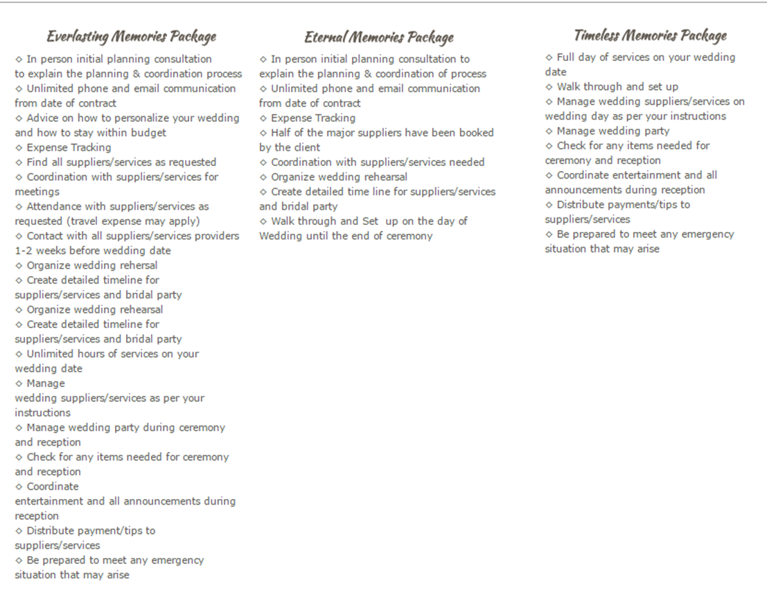 Wedding Event Planning Packages: Party Planning Packages