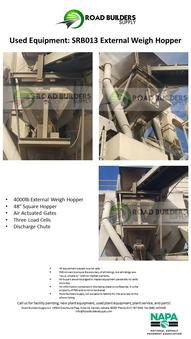 4000-lbs. capacity external weigh hopper for asphalt plants. Air-actuated gates, three load cells, and a discharge chute.