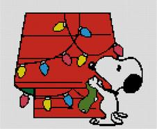 Cross Stitch Chart of Snoopy and his Christmas Lights