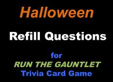 Halloween trivia cards for RUN THE GAUNTLET game