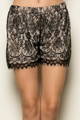 Nude Black Lace Shorts