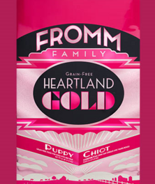 FROMM Heartland Gold Puppy dry dog food, available in 26, 12 and 4 pound bags
