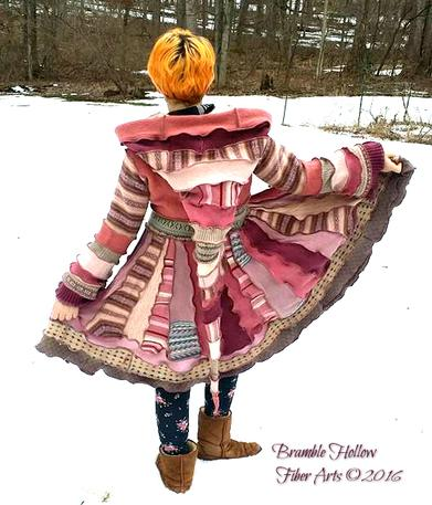 strawberry shortcake katwise inspired recycled sweater elf coat back view