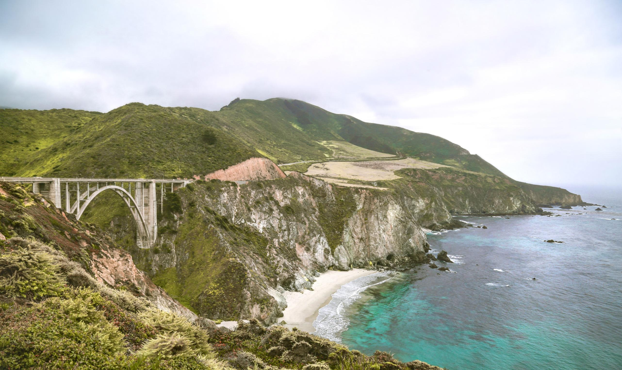 big sur bixby bridge beach ocean coast landscape