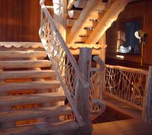 Coped log stair