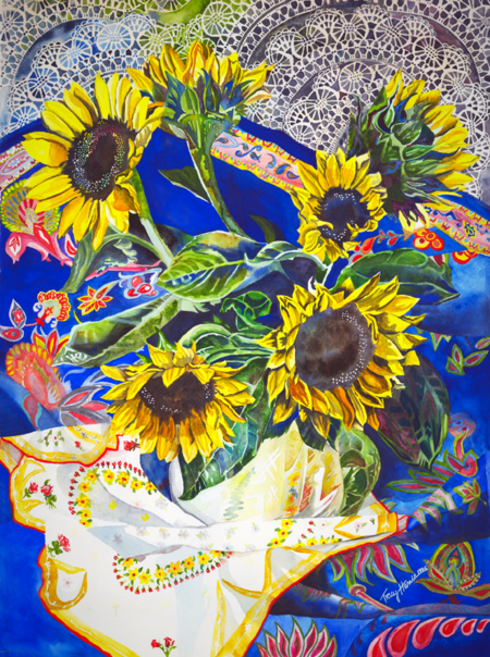 Watercolor Sunflowers, Tracy Harris Artist, Limited Edition Giclees Available