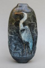 Great Blue Heron Vase