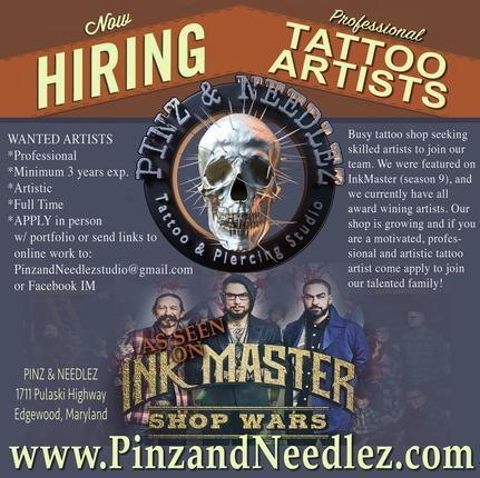 Pinz and Needlez Tattoo & Piercing Studio, Edgewood Maryland 21040