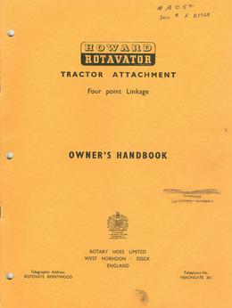 Howard Rotavator A-Type Tractor Attachment Owner's Handbook