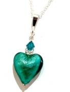 Murano Glass Heart Pendant Gold Leaf