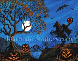 Halloween Art Headless Horseman Art by K. Graham, Spooky Haunted Graveyard Flying Bats Full Moon Spooky Tree