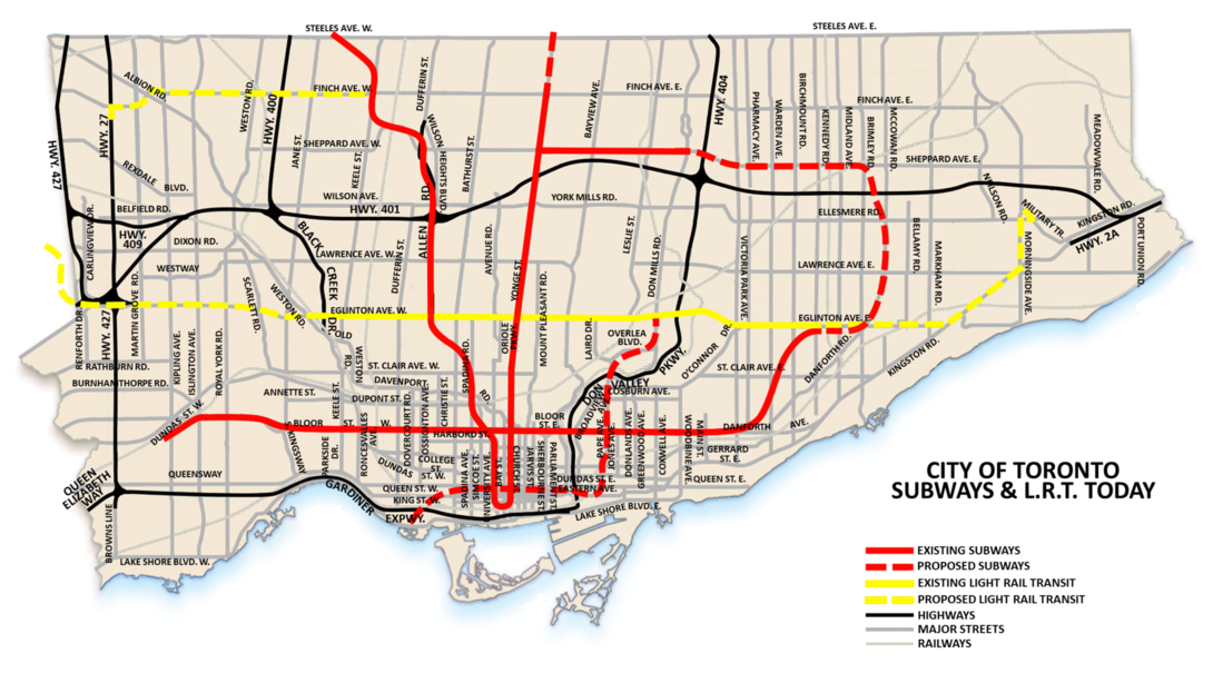 Queens Subway Map With Streets.Get Toronto Moving Transportation Plan History Queen Street Subway