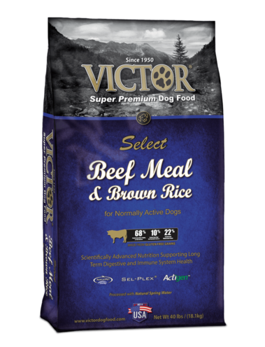 Victor Beef Meal and Brown Rice dog food for normally active dogs