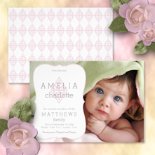 elegant Christian vintage cross pattern photo baby girl birth announcement