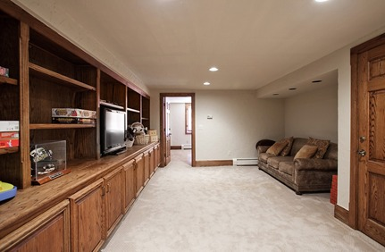 finished basement in Cherry Hills Village Colorado with custom cabinetry and custom doors