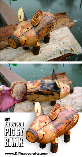 Easy DIY Firewood Pig Piggy Bank. www.DIYeasycrafts.com