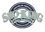 Silver and blue Sno-King Amateur Hockey Association logo