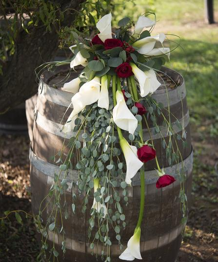 Flower Arrangement on Wine Barrel