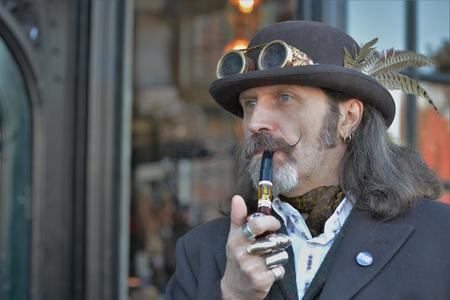 Steampunk DJ outside Surrey Steampunk Convivial February 2019