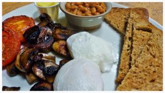 Breakfast dates in Fife image breakfast plate poached eggs wholegrain toast tomatoes mushrooms